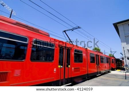Speeding Trolley - stock photo