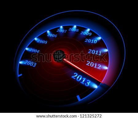 Speedometer 2013 - stock photo