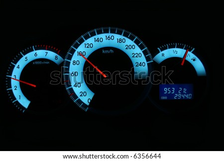 Speedometer and gauges - stock photo