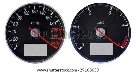 Speedometer and tachometer over the limits, braking the max speed.