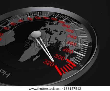 Speedometer and world map - stock photo
