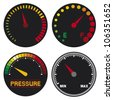 speedometer (dashboard speedometer icons, speed meter icons, speedometer, car speedometer and dashboard) - stock vector