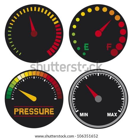 speedometer (dashboard speedometer icons, speed meter icons, speedometer, car speedometer and dashboard) - stock photo