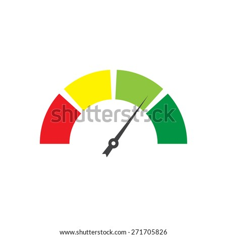 Speedometer icon or sign with arrow on white background. Colorful Infographic gauge element.  - stock photo