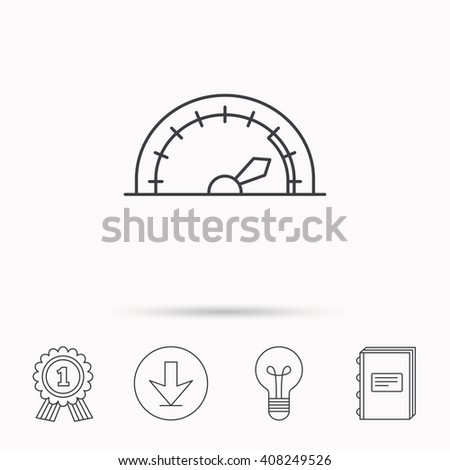 Speedometer icon. Speed tachometer with arrow sign. Download arrow, lamp, learn book and award medal icons. - stock photo