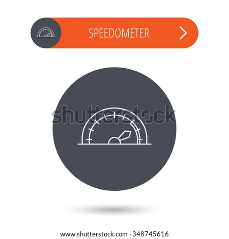 Speedometer icon. Speed tachometer with arrow sign. Gray flat circle button. Orange button with arrow.  - stock photo