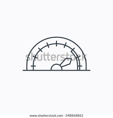 Speedometer icon. Speed tachometer with arrow sign. Linear outline icon on white background.  - stock photo