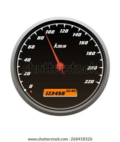 Speedometer icons howing a car travelling within the speed isolated on white
