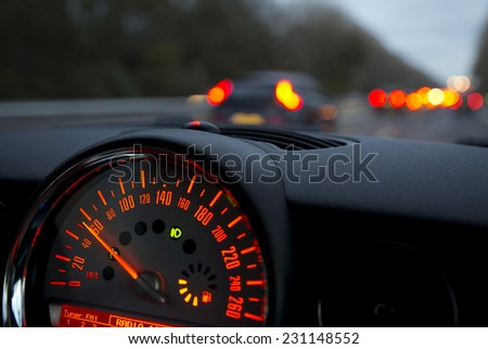 Speedometer in a Car Close up. - stock photo
