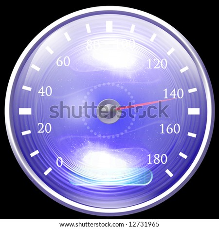 Speedometer isolated on a solid black background