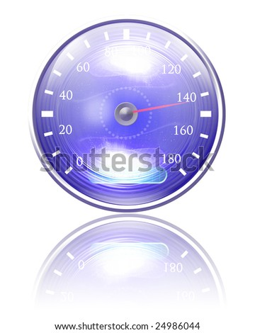 Speedometer isolated on a solid white background - stock photo