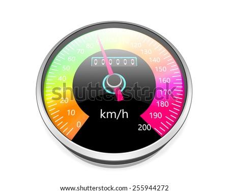 Speedometer  isolated on white background - stock photo