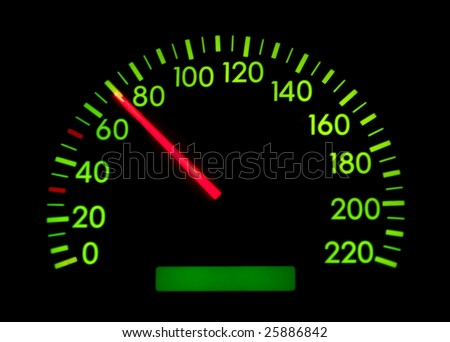 Speedometer of a car showing 70