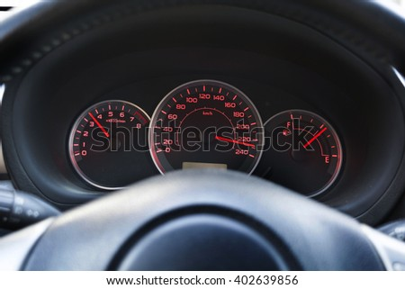 Speedometer of the car at high speed, close, selective  focus