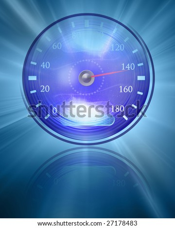 Speedometer on a soft blue background with reflection