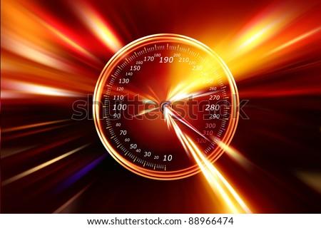 speedometer racing track at night - stock photo