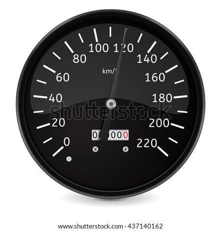Speedometer. Realistic illustration isolated on white background. Raster version
