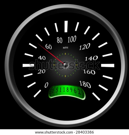 Speedometer (red arrow) on a black background - stock photo