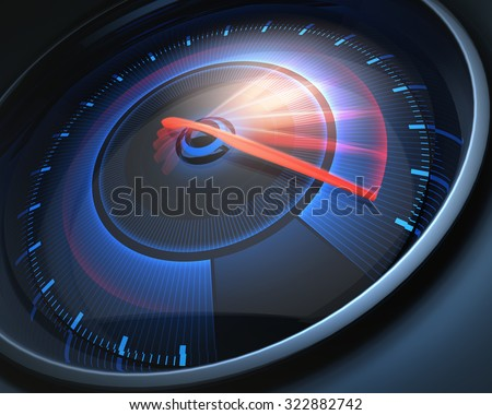 Speedometer scoring high speed, but without indicators numbers. - stock photo