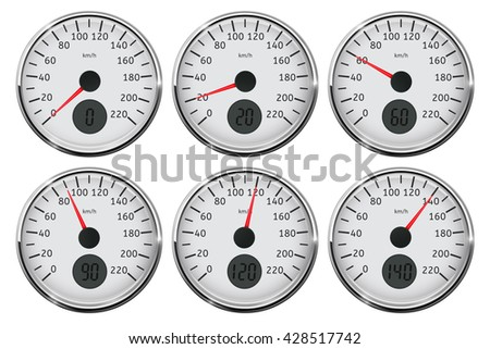 Speedometer. Set of different speed indication. Illustration on white background. Raster version