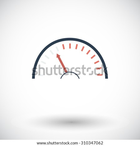 Speedometer. Single flat icon on white background.  illustration. - stock photo