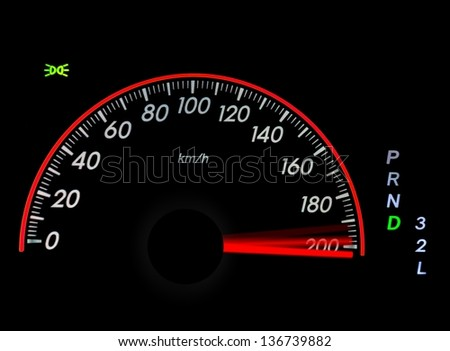 Speedometer with moving arrow in high speed