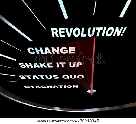 Speedometer with needle racing through the words Revolution, Change, Shake it Up, Status Quo and Stagnation - stock photo