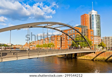 Speicherstadt district in Hamburg, Germany. In July 2015 this largest warehouse district in the world received the UNESCO world heritage status - stock photo
