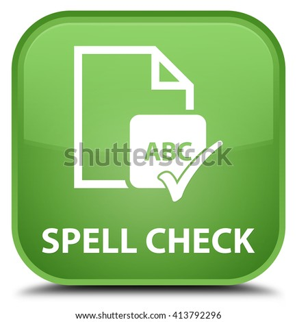 Spell check document soft green square button