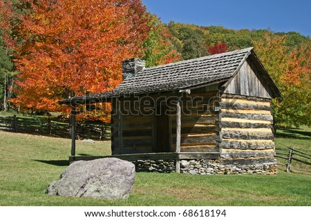 Spencer Log Cabin, Grayson Highlands State Park, Virginia in Autumn Horizontal - stock photo