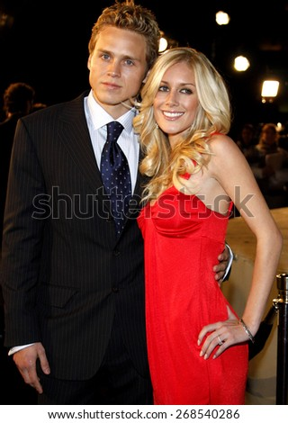 "Spencer Pratt and Heidi Montag attend the Los Angeles Premiere of ""Cloverfield"" held at the Paramount Pictures Lot in Hollywood, California, United States on January 16, 2008. - stock photo"