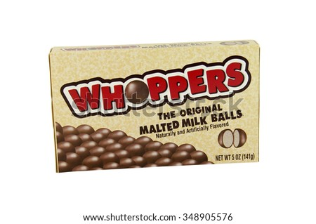 SPENCER , WISCONSIN, December,8, 2015   Box of  Whoppers Malted Milk Balls  Whoppers is owned by the Hershey Company and was first introduced in 1949 - stock photo