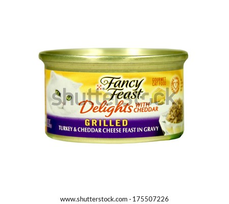 SPENCER , WISCONSIN- FEBRUARY 7, 2014 : can of Fancy Feast cat food. Fancy Feast is a gourmet food from Purina Pet Care - stock photo