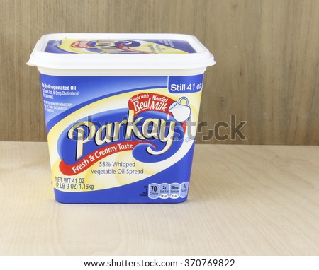 SPENCER , WISCONSIN, February,1,, 2016  Tub of Parkay Vegetable Oil Spread  Parkay is a Margarine made by ConAgra Foods and was introduced in 1937 - stock photo