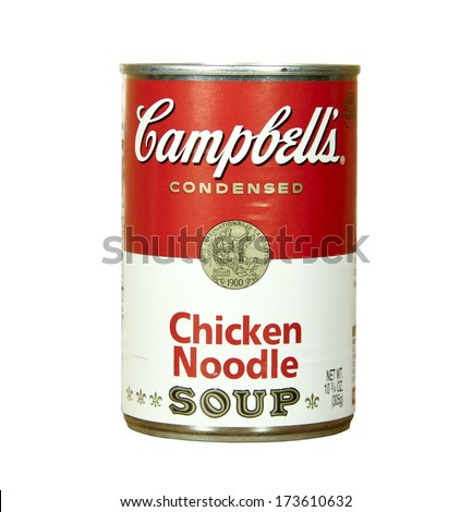 SPENCER , WISCONSIN - JANUARY 27, 2014 : can of Campbell's Chicken Noodle Soup. Campbell's is an american producer of canned soups and related products, it was founded in 1869 - stock photo