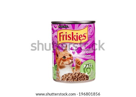 SPENCER , WISCONSIN June 3 , 2014:  can of Friskies Cat Food. Friskies is owned by Nestle Purina Pet Food Company, A division of Nestle. - stock photo