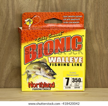 Spencer, Wisconsin, May, 10, 2016   Box of Bionic Walleye Fishing Line  Bionic is a product of Northland Fishing Tackle an American based company - stock photo