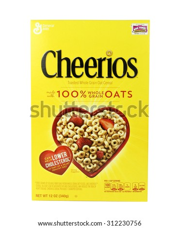 SPENCER , WISCONSIN, September, 1,  2015   Box of  Cheerios Cereal  Cheerios is manufactured by General Mills Company an American Company founded in 1866 - stock photo