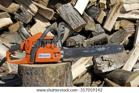 SPENCER , WISCONSIN, September, 15, 2015   Husqvarna Chainsaw  Husqvarna Group is a manufacturer of outdoor power products based in Stockholm Sweden and was founded in 1869 - stock photo