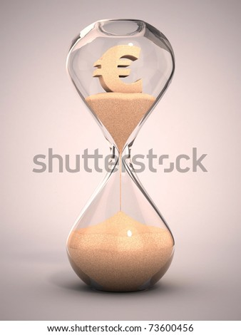 spending money or out of money concept - hourglass, sandglass, sand timer, sand clock with euro sign shaped sand 3d illustration - stock photo