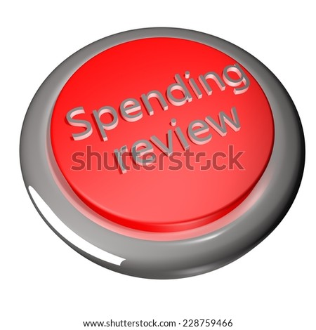 Spending review button isolated over white, 3d render - stock photo