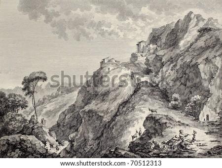 Sperlinga castle in Sicily. Created by Basredon and Paris, published on Voyage Pittoresque de Naples et de Sicilie, by J. C. R. de Saint Non, Imprimerie de Clousier, Paris, 1786 - stock photo