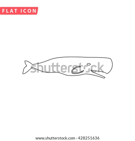 Sperm Whale. Black outline simple pictogram on white. Line icon - stock photo