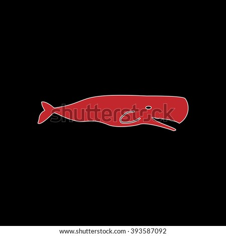 Sperm Whale. flat symbol pictogram on black background. red simple icon with white stroke - stock photo