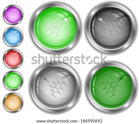 Spermatozoon. Raster internet buttons. Vector version is in portfolio. - stock photo
