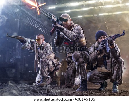 Spesial forces soldiers  attaks the enemy - stock photo