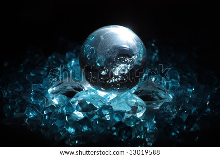 sphere and crystals - stock photo