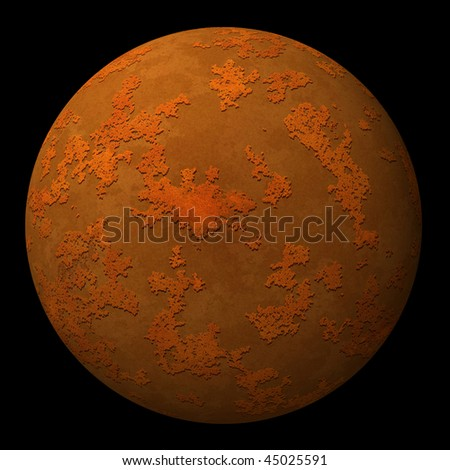 Sphere, ball or planet with rusty iron metal textured surface on black background