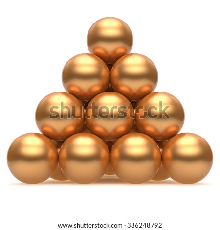 Sphere ball pyramid hierarchy corporation gold top order leadership element teamwork stable group business concept golden yellow shiny sparkling. 3d render isolated - stock photo