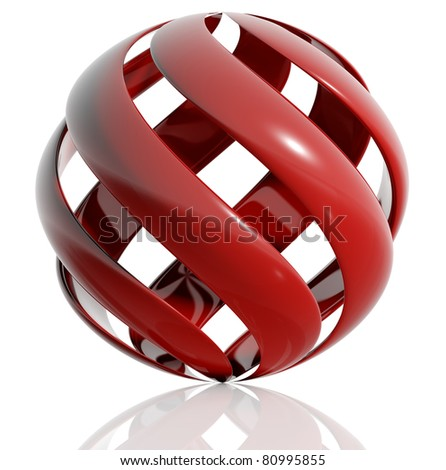 Sphere created of spiral elements isolated on white background. 3d illustration. - stock photo